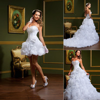 Wholesale 2014 New Arrival Two Pieces Sweetheart Ruffles A Line Wedding Dresses Short Mini Lace up Chapel Train Organza Wedding Dress Bridal Gowns
