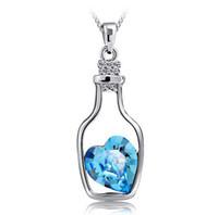 al por mayor aquamarine encanto europeo-Botella deriva colgante de color aguamarina 925 del encanto de plata del amor Collar colgante de cristal de Europa y América las mujeres joyería de la boda 10pcs