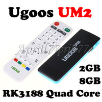Wholesale Ugoos UM2 RK3188 Quad Core Mini TV Box GHz Google Android GB GB Bluetooth Smart PC Stick Dongle With IR Remote Double USB Port