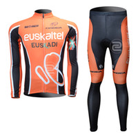 Unisex Polyester Full Long Cycling Suit 2013 EUSKALTEL EUSKADI Cycling Long sleeve bike jersey + Pants with pad bicycle wear Fleece Thermal maillot Tour de France