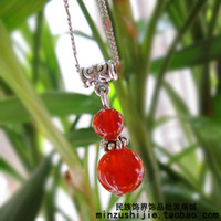 Alloy / Silver / Gold Natural crystal / semi-precious stones Ethnic jewelry industry Natural crystal jewelry wholesale retro Chinese style red agate Miao silver necklace female short paragraph clavicle 024