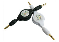 Wholesale mm RETRACTABLE AUXILIARY White CABLE male male aux audio cord iphone ipod mp3
