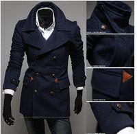 Men s woolen coat Preços-Frete grátis! Lã. Winter Men's Double-breasted Sobretudo Single-breasted Brasão Design curto Woolen Wind Coat Men Trench Coats! Lazer