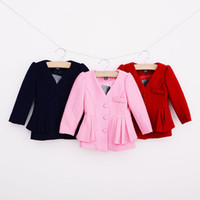 Wholesale Wholesales new spring children coat autumn new girl solid tweed windbreaker jacket outerwear SS