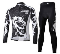Unisex Polyester Full Long Cycling Suit CHINESE DRAGON BLK Cycling Long sleeve bike jersey + Pants with pad bicycle wear Fleece Thermal maillot Tour de France