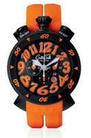 Lady Luxury Watch marca GaGa relojes MILANO ITALIA negro PVD mujeres cronógrafo cuarzo deporte calendario de goma naranja Moda mujer reloj de pulsera