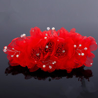 Other Type Silk Flower  Fashion Red Ivory Pink Free Shipping New With Crystal Rhinestone Peal Hot Flower Wedding Bridal Hair Accessories