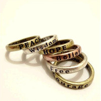 Band Rings Bohemian Unisex Western Style Metal Letter Wishing Hope Love Luck Peace Free Belief Wisdom Courage Ring Set 8 Pieces set Wholesale 12set