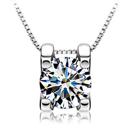 Square Diamond Pendant White Gold Overlay 925 Sterling Silver Necklace Pendant Luxurious Square Crystal Jewelry For Women 6mm 8mm Fashion Ne
