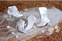 Wholesale Four White New Kitten Heels High Quality Satin Luxurious Handmde Diamond Nifty And Shoelaces Bow Boots Wedding Children Shoes