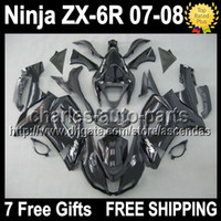 Wholesale 7gifts Fairing For KAWASAKI all black NINJA ZX R ZX R R Q205 ZX6R ZX636 gloss glossy black ZX Bodywork
