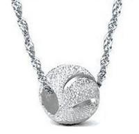 achat en gros de pierre blanche collier pendentif-White Gold Overlay Collier pendentif à 30% Argent 925 billes collier de perles 8mm Argent Spacer Bead Médaillon Pierre Femmes Pendentif Freeshippi