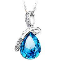 Wholesale 925 Sterling Silver Pendant Necklace Luxurious Blue Austrian Crystal Angel s Tear Sapphire Jewelry Bohemian Women Wedding Pendant Brand New