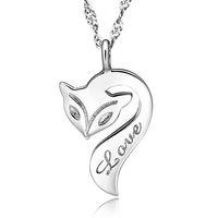 Bohemian fire fox - Fox Pendant Necklace Sterling Silver Fire Fox Necklace Love Charm Pendant Enamel Bronze Jewelry For Women Wedding Party