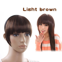 Wholesale Lady Charming Clip On Bangs Fringe Clip Light Brown Hair Extension