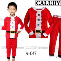 "Unisex Spring / Autumn Long New Arrivals 2013 ""Caluby"" Boys Girls Autumn -summer Cotton Pajamas Children Clothing sets red christmas clothes Pyjamas"