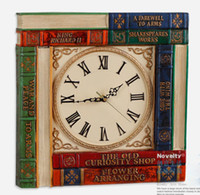 Wholesale Fashion Large Vintage Wall Clock Resin Clocks Capitales Books Brief Quartz Watch Reading Room Home Decorative Gifts