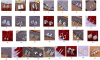 Wholesale 30 pairs silver earrings mixed style hanging hook earrings