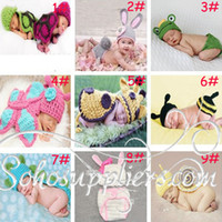 Wholesale Baby Crochet Photo Props Animal Hats Toddler Kids Photo Costume Set Baby Crochet Hats Cartoon Costume sets MZS