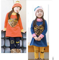 Wholesale Children clothing manufacturers china Fashion Baby winter clothes Leopard Sweety Heart toddler hoodie sets pc T001
