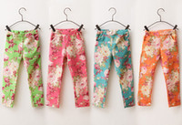 Wholesale Korean Children Floral Leggings - Wholesale - 2013 girls jeans Leggings Korean flowers children floral Leggings fashion girls pants kids jeans long Denim pants kids clothes g
