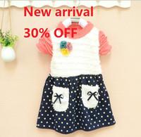 Spring / Autumn Long Sleeve 100% Cotton 2013 Girls Dresses Corsage Fuzzy Dot Double Pocket Skirt New Fascinating Sweet Childrens Tutu Skirts HOT Sale 3pcs lot