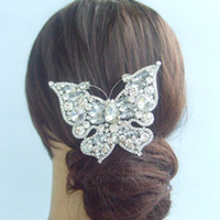 Wholesale 3 quot Bridal Butterfly Hair Comb Wedding w Clear Rhinestone Crystals FSE04919C1