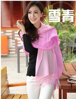 Wholesale Environmental Protection Warm Scarf Preservation Hygroscopicity Good soft Gradient Reversible flourescent Pashmina Shawl x70cm For Girl