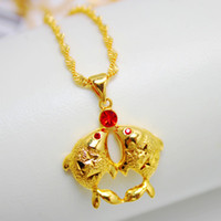 Alloy / Silver / Gold Wave chain Alloy / Silver / Gold Hot new Pisces Pendant plated gold inlaid ruby pendant Korean pop export trade