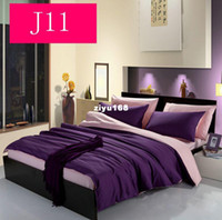 Three-piece ab cotton twill - contracted AB edition double color matching cotton twill bedding sets duvet cover