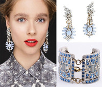 Wholesale European Fashion Blue Crystal Bracelet Bangle and Earrings Set Vintage Style Gem Statement Jewelry Personalized Style Gift For Women JS046