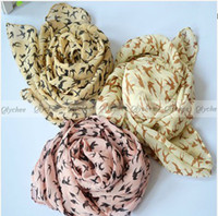 Wholesale 2013 New Fashion Womens Sweet Swallow Bird Print Graffiti Style Scarf Shawl Long Stole