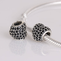 Wholesale Authentic ALE Sterling Silver Black Pave Heart Charm Bead Fits European Pandora Bead Bracelets