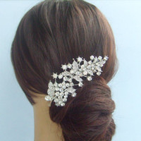 Wholesale Wedding Bridal Hair Accessories Flower Hair Comb Rhinestone Crystals FSE02950C1