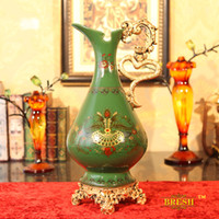 Wholesale Fashion vintage bresh high quality ceramic color glaze decoration vase flower green colored drawing t318 high temperature