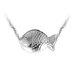 New Cute Fish Pendant 925 Sterling Silver Animal Fish Pendant Necklace Women Bohemian Fashion Korean Jewelry 10pcs lot Freeshipping