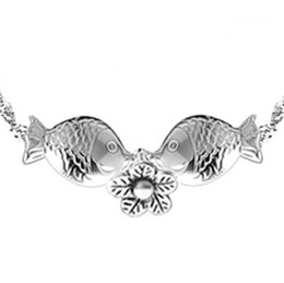 New Cute Kiss Fish Pendant 925 Sterling Silver Fish Pendant Necklace Jewelry 2 styles choose 10pcs lot Freeshipping
