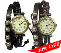 Wholesale On Sale The Lowest Price Watch Hot Fashion Retro Hand Woven Leather Strap Roma Number Dial Quartz Watch
