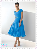 Wholesale Newest Luxury Modest dress with pleated cap sleeves Bridesmaid Dresses tea length Wedding Dresses Gowns