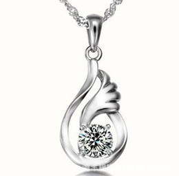 Beautiful Pendant Necklace Occident Style Love Wings Charms Amethyst Crystal Pendant 925 Silver and White Gold Plated Necklace Jewelry