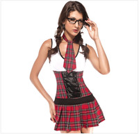 Animal Men Costumes & Accessories Slim Fit Student One-piece Dress+tie+G-string Sexy Halloween Cosplay Lingerie 8477