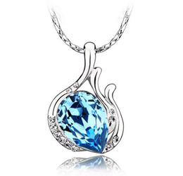 Wholesale Sapphire Jewelry Sterling Silver Pendant Necklace Love Charm Aquamarine Crystal Pendant Angel Tear Bohemaian Natural Stone Jewelry