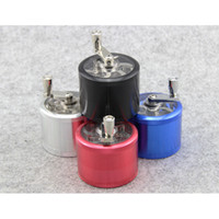 Wholesale Aluminum Metal four layer HAND CRANK herb tobacco grinder Cigarette Smoking Spice Crusher