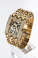 Wholesale a piece LADY big dial fashion watch with Diamond Sexy leopard dial brand fashion watches gs watch gold silver