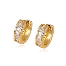 Exquisite women's 18K Yellow Gold Single Swarovski crystallized Hoop Earrings wedding Huggies gift 13*4mm 100% real gold, not solid not mo