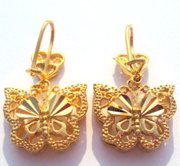 Noble Pretty Womens 24k Yellow gold butterfly earring Artistic jewelry 100% real gold, not solid not money.