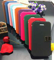 For Apple iPhone Leather leather Wholesale - Colourful Deluxe D Word Buckle Flip Wallet Leather Case Cover With Credit Card Holder For iphone 5 5G iphone 4 4S Your Satisfact