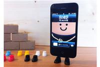 al por mayor zapatos de enchufe-Color caramelo zapatos teléfono celular monta titular de soporte puerto de datos anti-polvo plug para el iphone 5 5S iphone 4 4s samsung ishoe