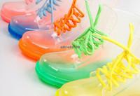 Wholesale 13 colors PVC Rain Boots Color Soles Lace Up Ankle Waterproof Transparent Shoes pairs SB2