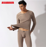 V_Neck Men Winter Free Shipping Asianbum Long Johns Thermal Pants For Men 95% Modal Emerizing Man Pouch Underwear Sets Male Long Pajama Pants